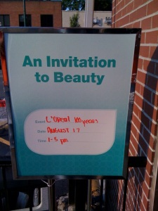 "The welcoming sign that invites shoppers to ""Beauty"""